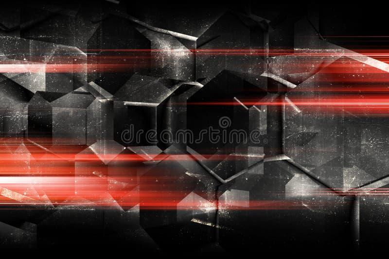 Ackground oscuro abstracto, hexágonos concretos 3d fotos de archivo libres de regalías
