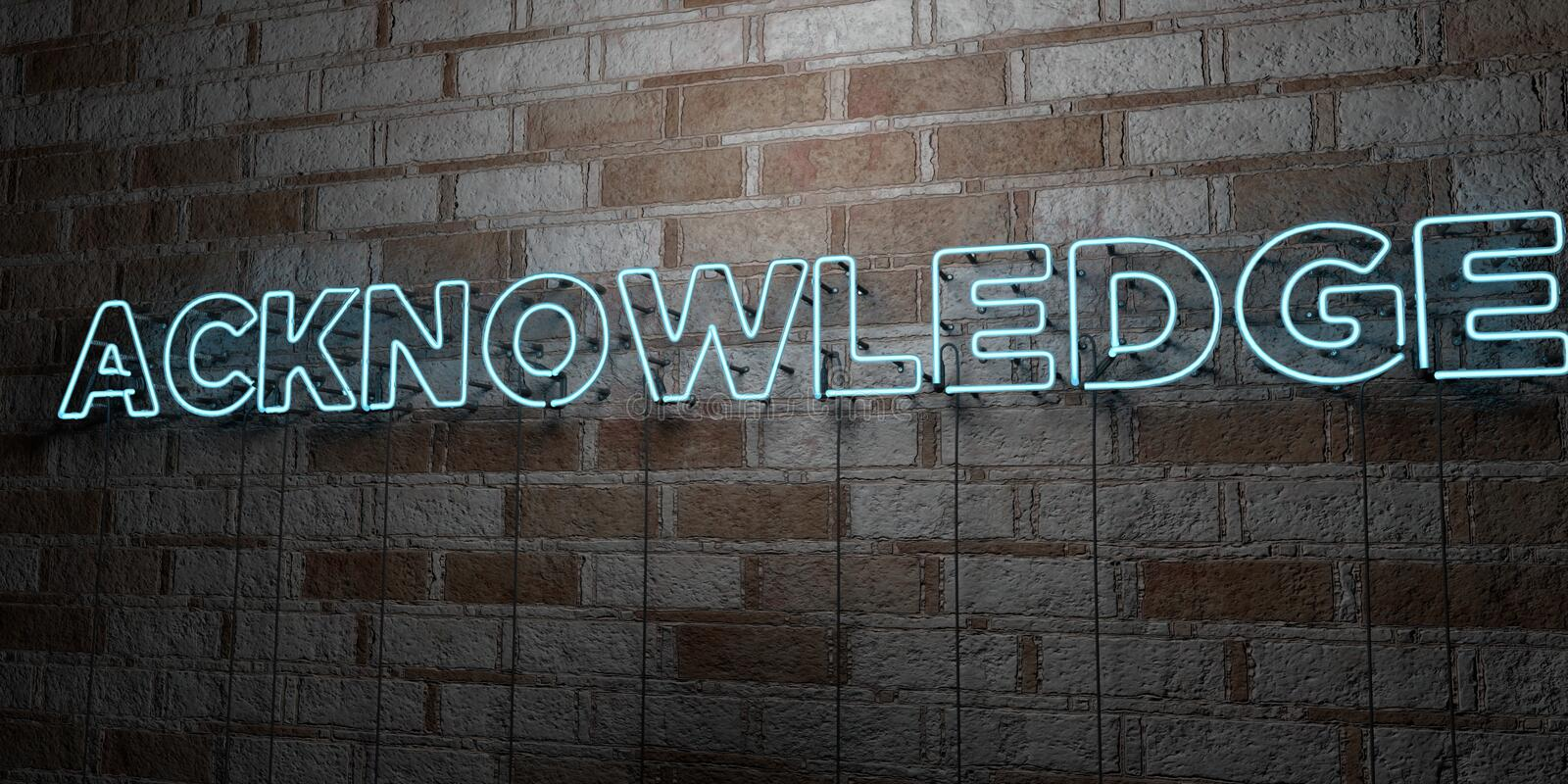 ACKNOWLEDGE - Glowing Neon Sign on stonework wall - 3D rendered royalty free stock illustration. Can be used for online banner ads and direct mailers stock illustration