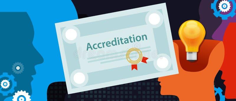 Ackreditering bemyndigade papper för organisationsaffärscertifikatet med stämpeln vektor illustrationer