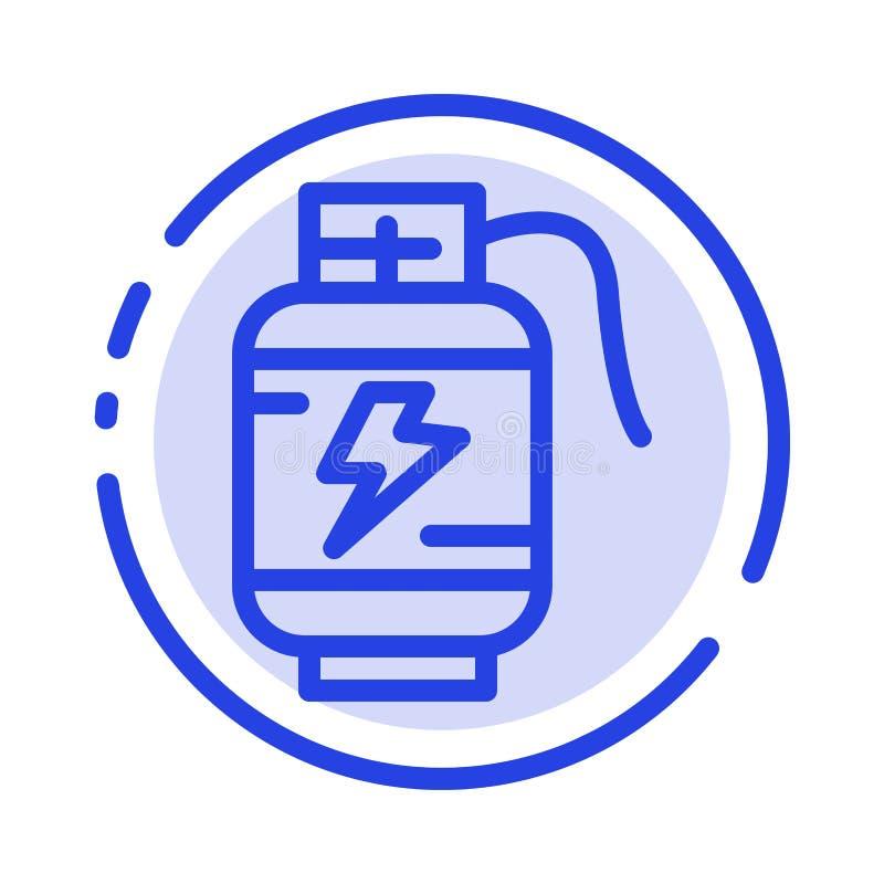Ackumulator batteri, makt, blå prickig linje linje symbol för laddning stock illustrationer