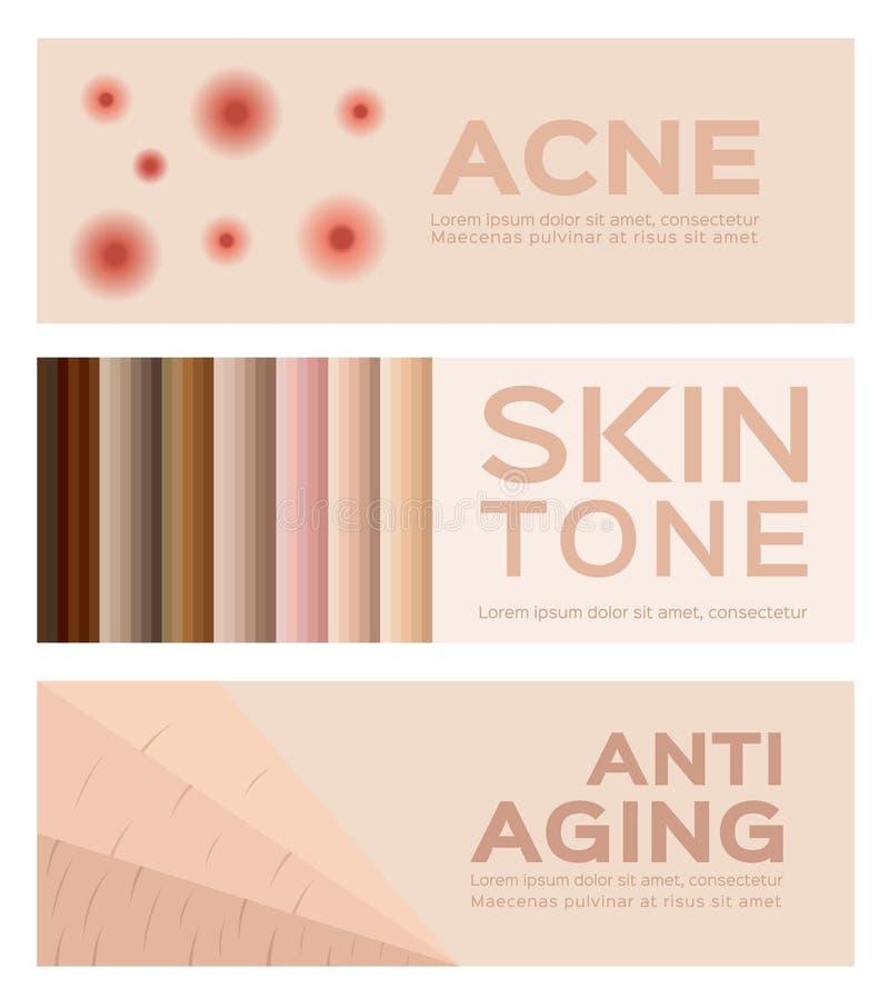 Acné, tono de piel y antienvejecedor sistema de 3 banderas stock de ilustración