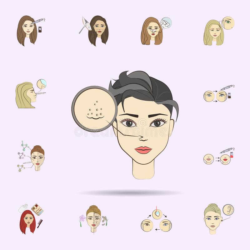 Acne cleansing colored icon. Beauty, anti-aging icons universal set for web and mobile. On color background stock illustration
