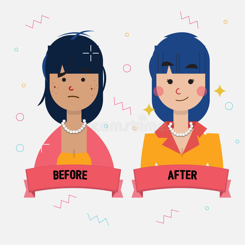 Acne Girl Become Pretty Girl. Beautiful Concept. Before