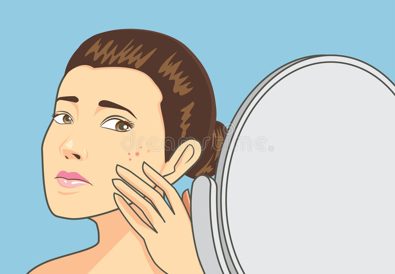 Acne skin on women face. Women strain at back cosmetic mirror with problem acne face. Skin care concept stock illustration