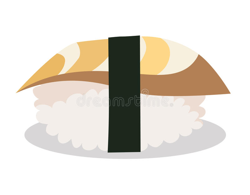 Acne sushi food. Sushi cartoon style icon. Nori sushi with acne fish, japanese food. stock illustration