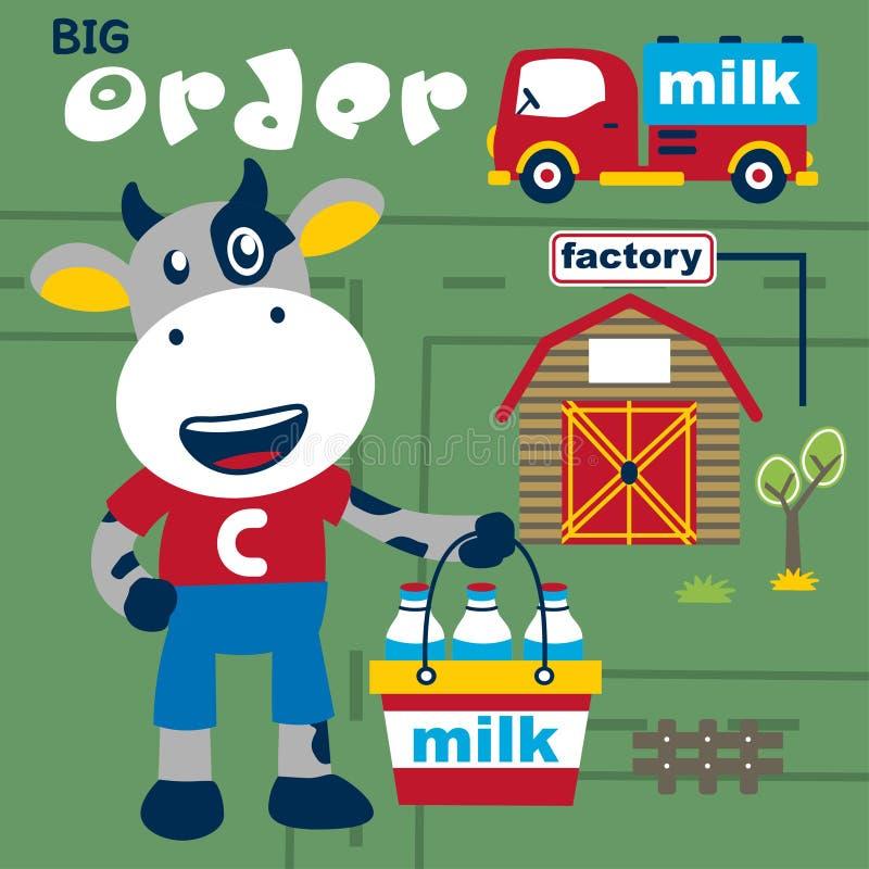 Acobarde la historieta divertida del lechero, ejemplo del vector libre illustration