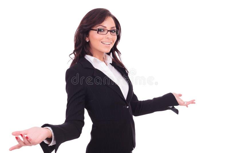 Acolhimento da mulher de negócio imagens de stock