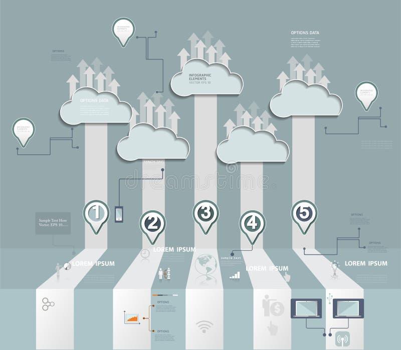 Acolhimento da nuvem Nuble-se o conceito de computação com ícone, grupo social da rede ilustração royalty free
