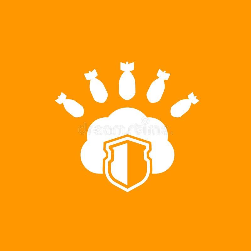 Acolhimento sob o ícone do ataque de DDoS ilustração do vetor