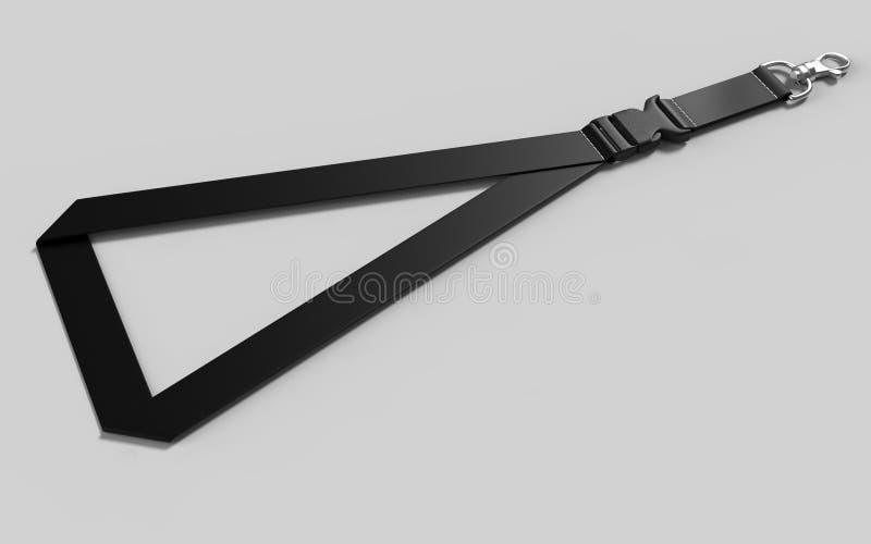 Acollador en blanco con el gancho de la broche del metal y la hebilla plástica desmontable stock de ilustración