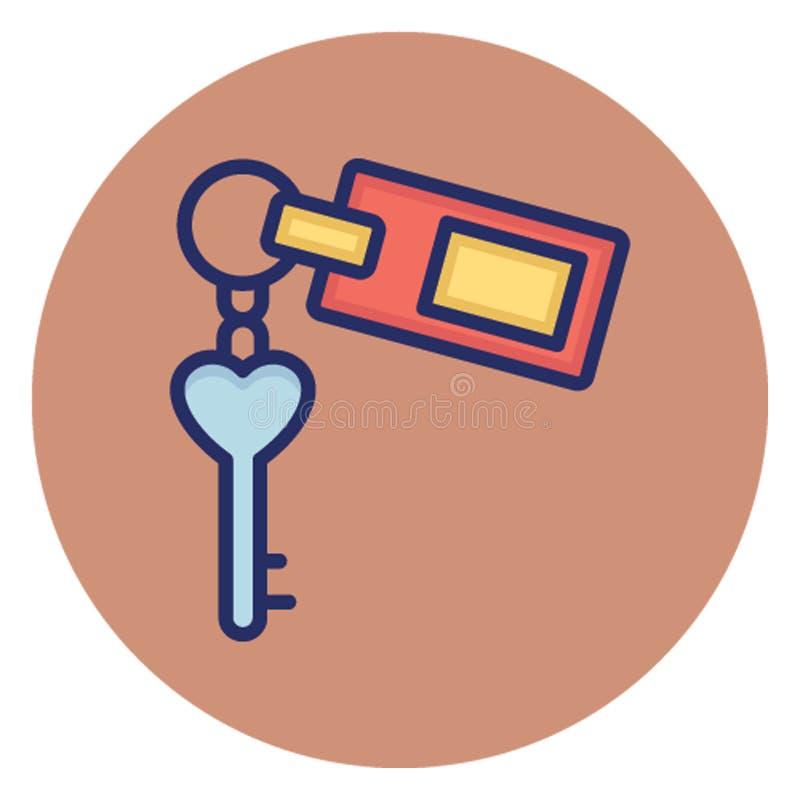 Acomodação, ícone do vetor da chave do hotel que pode facilmente editar ilustração stock
