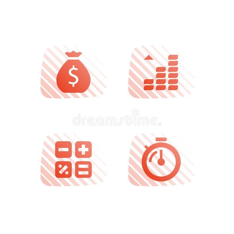 Acompte de paiement, fonds commun de placement mutualiste, augmentation de revenu, b?n?fice de pouss?e, plus d'argent, rentabilit? illustration de vecteur