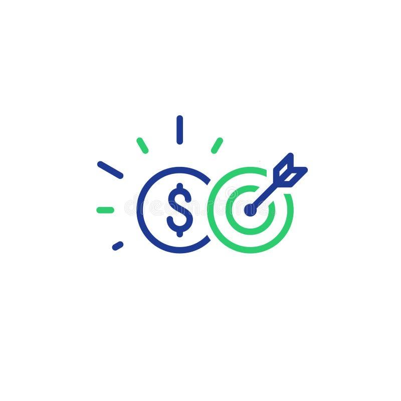 Acompte de paiement, score de crédit, opérations bancaires et placement, ligne icône illustration de vecteur