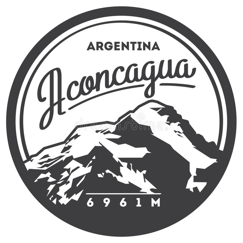 Aconcagua in Andes, Argentina outdoor adventure badge. High mountain illustration. Climbing, trekking, hiking, mountaineering and other extreme activities logo stock illustration