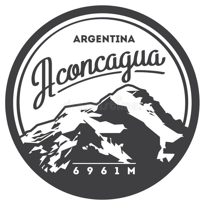 Aconcagua i Anderna, Argentina utomhus- affärsföretagemblem Illustration för högt berg stock illustrationer