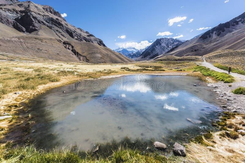 Aconcagua, nelle montagne delle Ande in Mendoza, l'Argentina. immagini stock libere da diritti