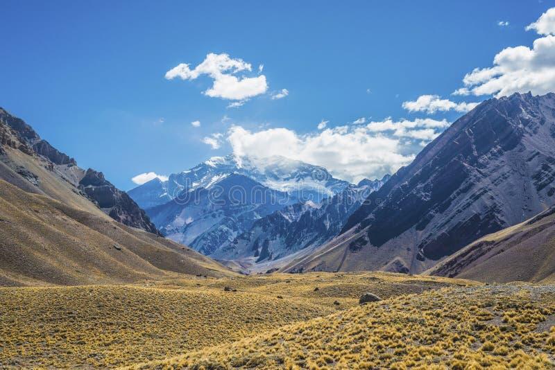 Aconcagua, nelle montagne delle Ande in Mendoza, l'Argentina. fotografie stock