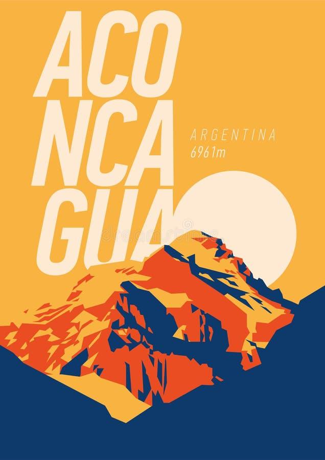 Aconcagua openlucht het avonturenaffiche in van de Andes, Argentinië Hoge berg bij zonsondergangillustratie vector illustratie