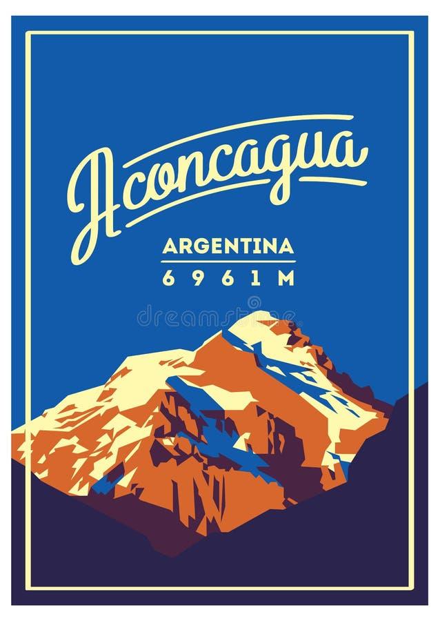 Aconcagua openlucht het avonturenaffiche in van de Andes, Argentinië Hoge bergillustratie vector illustratie