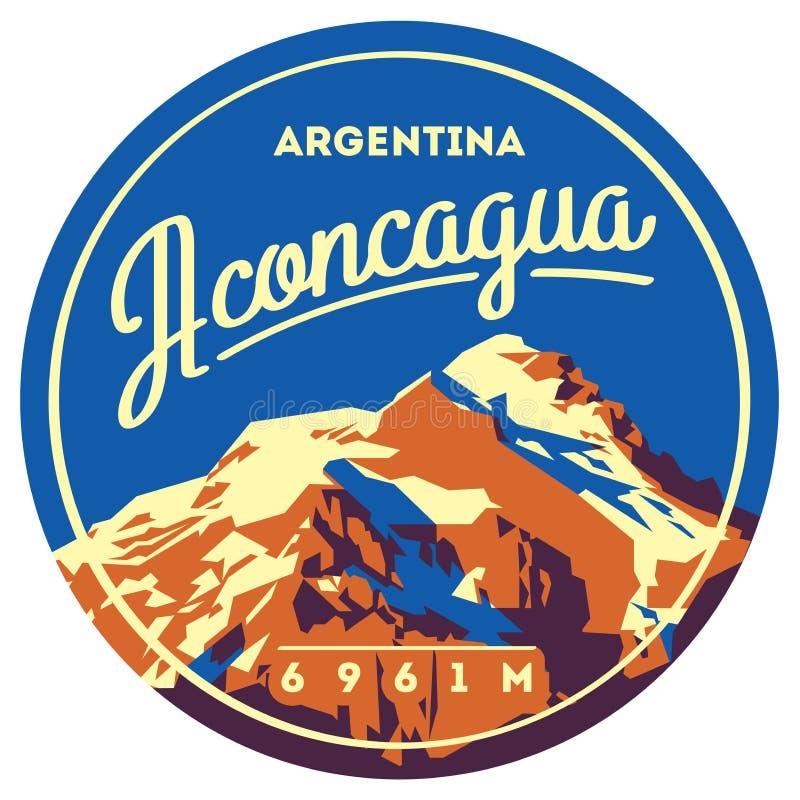 Aconcagua openlucht het avonturenkenteken in van de Andes, Argentinië Hoge bergillustratie royalty-vrije illustratie