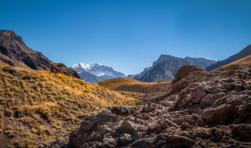 Aconcagua-Südwandansicht von provinziellem Park Aconcaguas in Kordilleren-De Los Anden - Mendoza-Provinz, Argentinien stockbilder