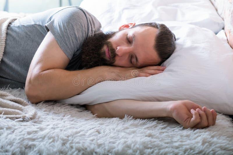 Aconchego saudável da calma do homem do estilo de vida do sono sadio imagem de stock royalty free