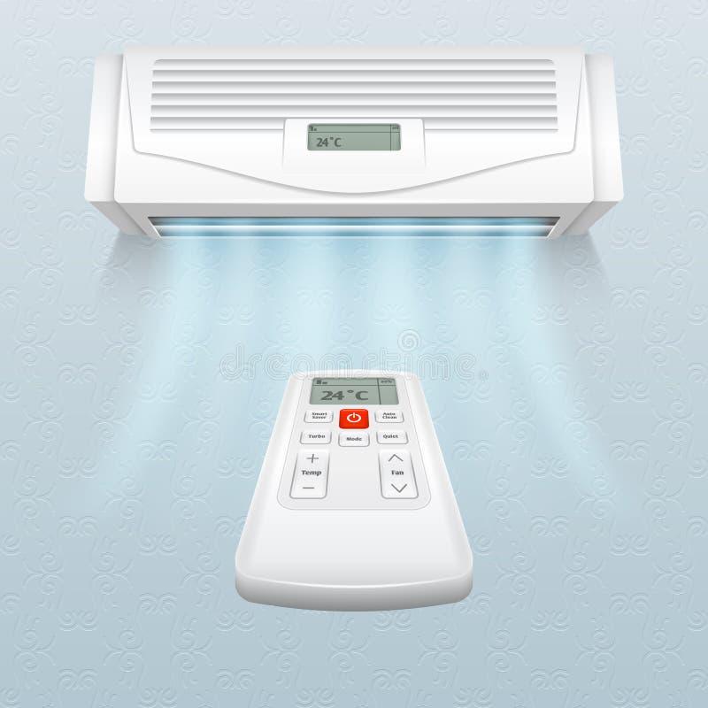 Acondicionador con las corrientes del aire fresco El control del clima en hogar y la oficina vector el ejemplo stock de ilustración