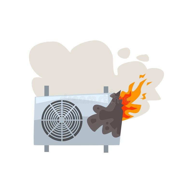 Acondicionador de aire ardiente quebrado, ejemplo dañado del vector de la historieta del aparato electrodoméstico en un fondo bla stock de ilustración