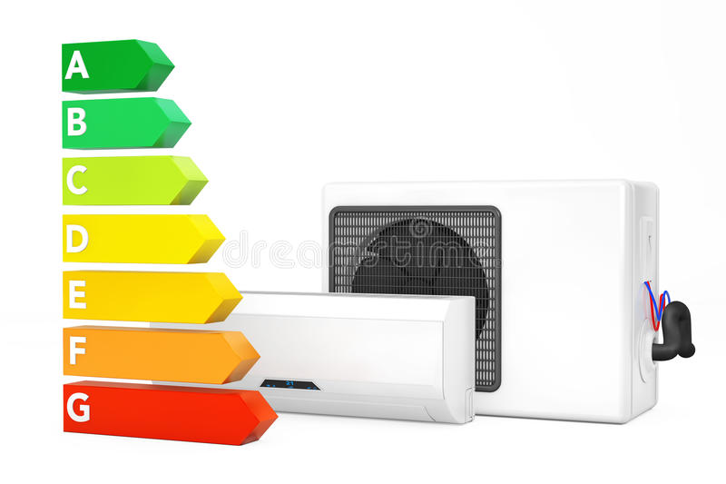 Acondicionador de aire moderno cerca de la carta del grado del rendimiento energético 3D r stock de ilustración