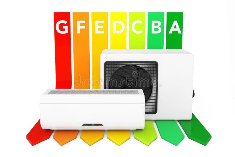Acondicionador de aire moderno sobre carta del grado del rendimiento energético 3D r stock de ilustración