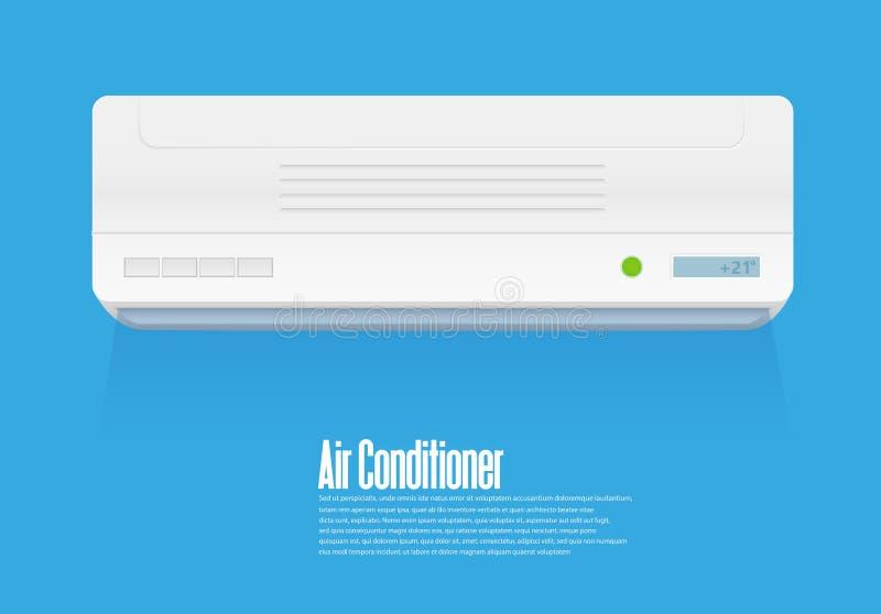 Acondicionador de aire partido del sistema Sistema de control del clima fresco y frío Condicionamiento realista con el control re ilustración del vector
