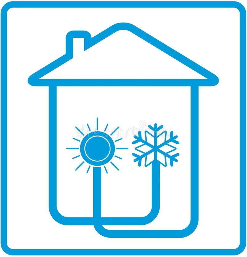 Acondicionador del símbolo en hogar con el sol y el copo de nieve stock de ilustración