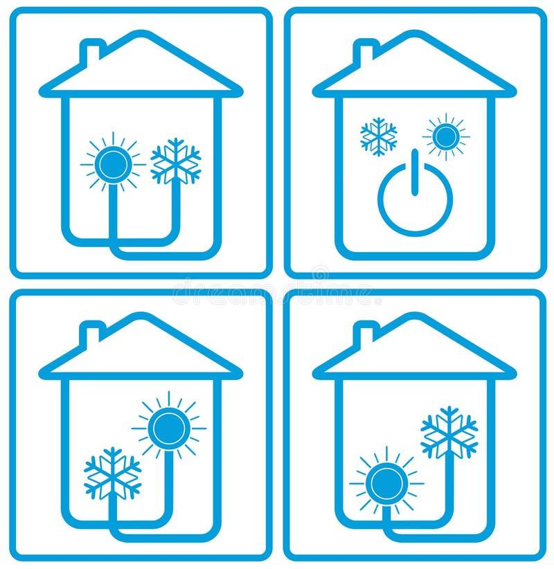 Acondicionador en hogar con el sol, el copo de nieve y la casa libre illustration