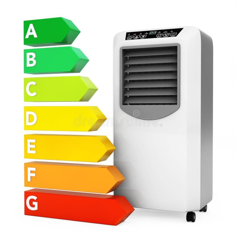 Acondicionador móvil moderno cerca de la carta del grado del rendimiento energético 3 libre illustration