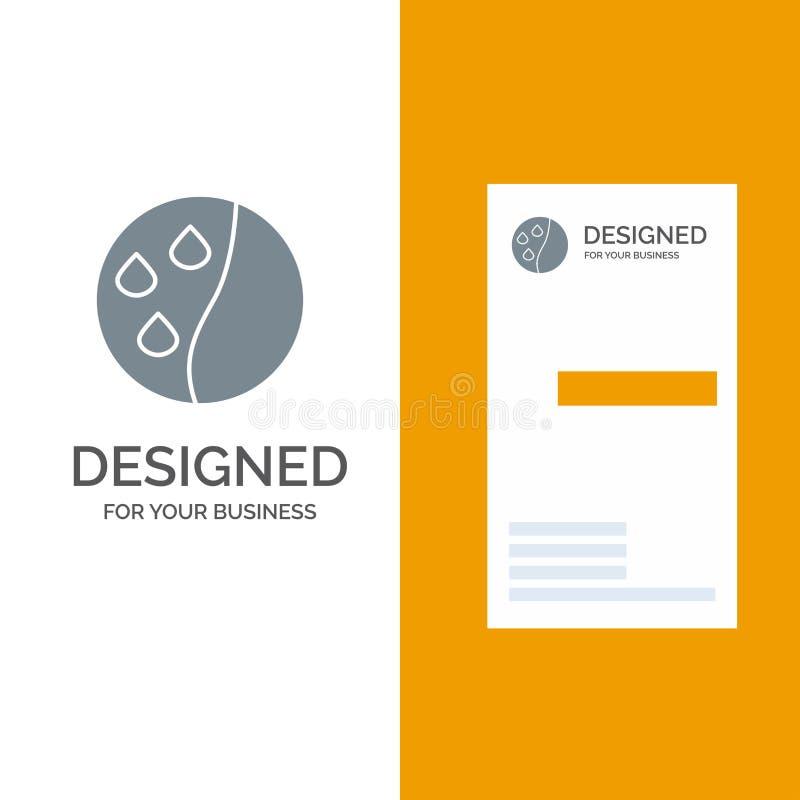 Acondicionamento do cabelo, terapia do cabelo, tratamento Grey Logo Design do cabelo e molde do cartão ilustração royalty free