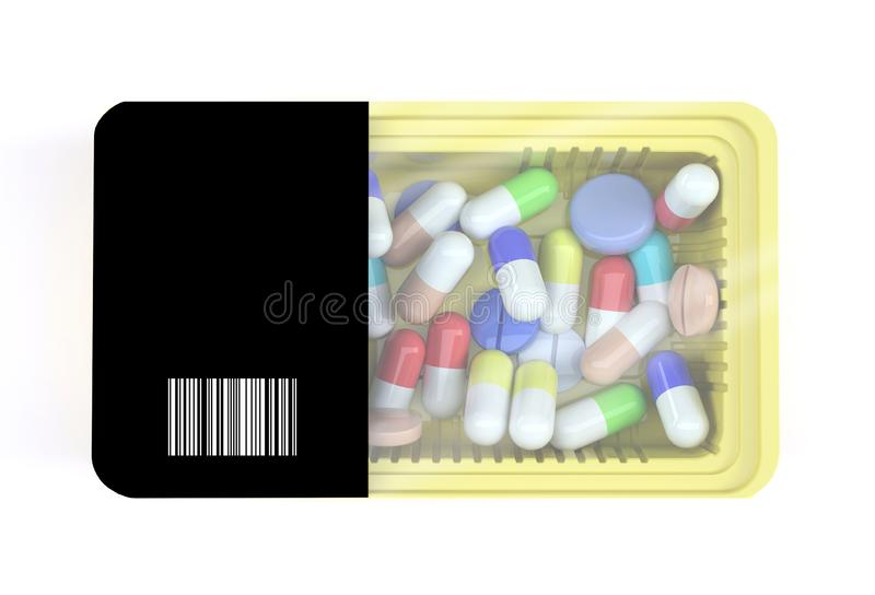 acondicionamiento de los alimentos con muchas píldoras dentro ilustración del vector