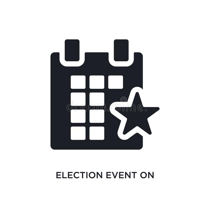 acontecimiento de la elección en un calendario con el icono aislado estrella ejemplo simple del elemento de iconos políticos del  stock de ilustración