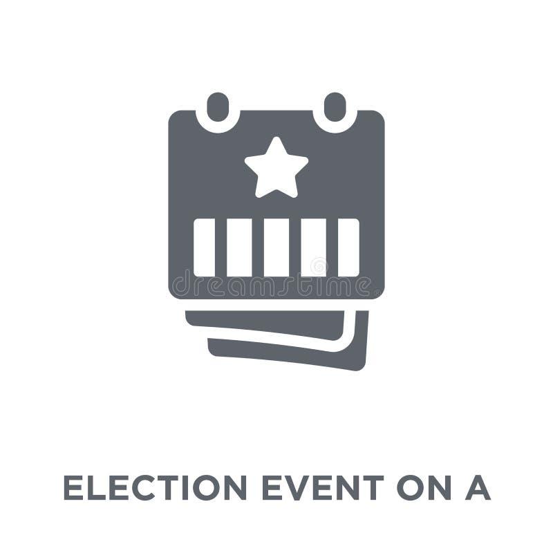 Acontecimiento de la elección en un calendario con el icono de la estrella del colle político ilustración del vector
