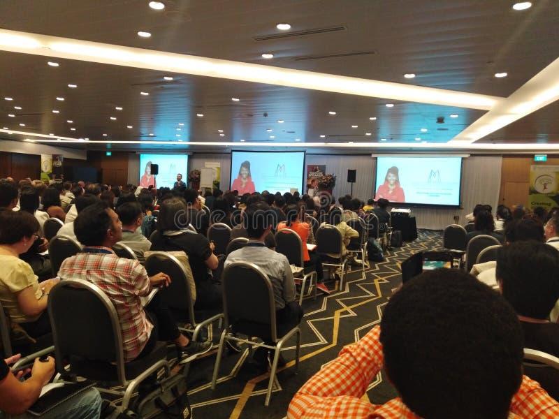 Acontecimiento del seminario en el pasillo de convenio de Suntec, Singapur fotos de archivo libres de regalías