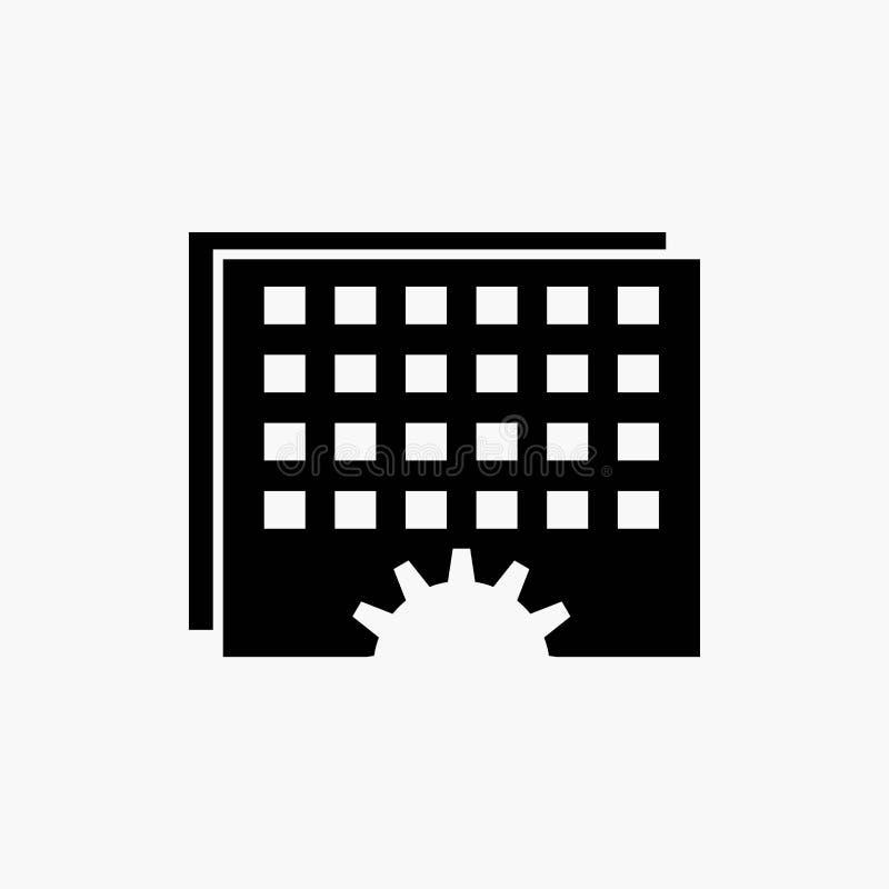 Acontecimiento, gestión, procesando, horario, icono del Glyph de la sincronización Ejemplo aislado vector stock de ilustración