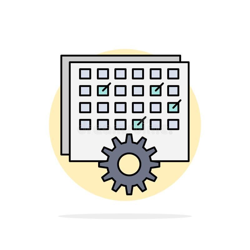 Acontecimiento, gestión, procesando, horario, vector plano del icono del color de la sincronización ilustración del vector