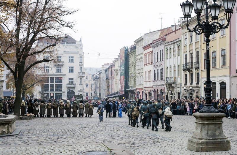 Acontecimientos militares 1918 de la reconstrucción histórica en Lviv, Ucrania fotografía de archivo libre de regalías