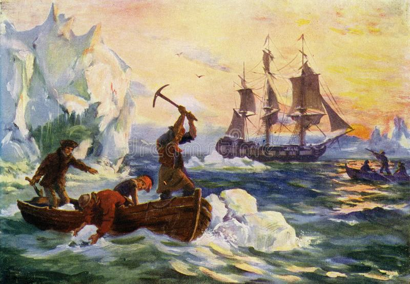acopio del agua dulce de los icebergs stock de ilustración