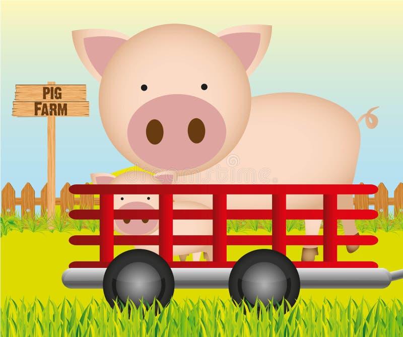 Acoplado con el fondo de la granja de cerdo, ilustración del vector