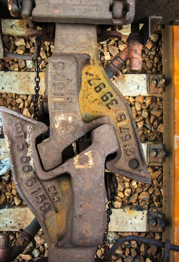Acoplamento e amortecedores railway do estilo antigo para ligar vagões Conne imagem de stock royalty free