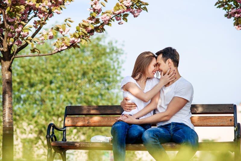 Acople abraços perto das árvores de sakura no jardim de florescência Os pares no amor passam o tempo no jardim da mola, flores no fotos de stock