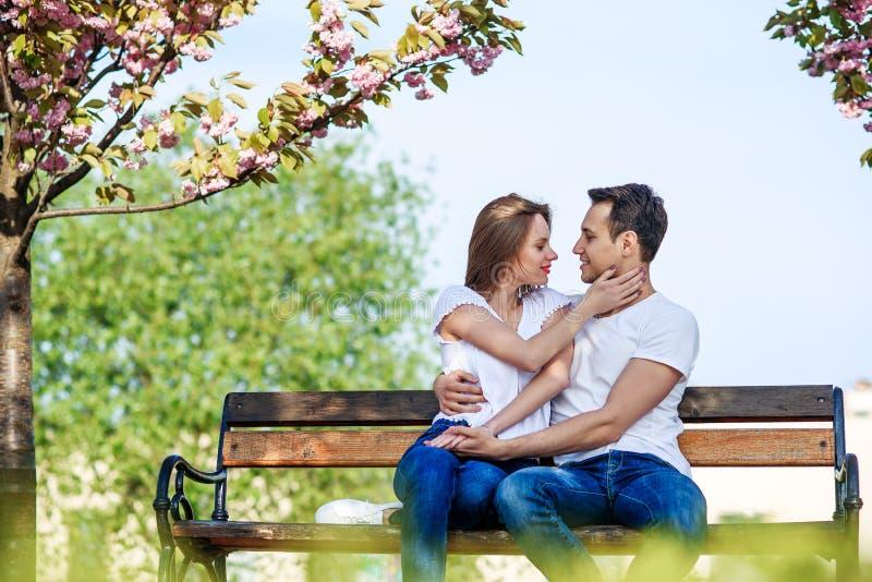 Acople abraços perto das árvores de sakura no jardim de florescência Os pares no amor passam o tempo no jardim da mola, flores no foto de stock royalty free