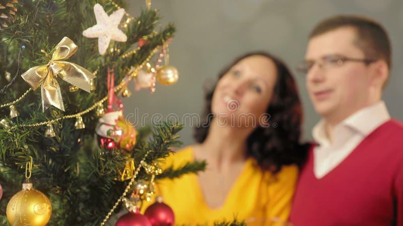 Acople a admiração da árvore de Natal, família feliz que abraça heartily, unidade foto de stock