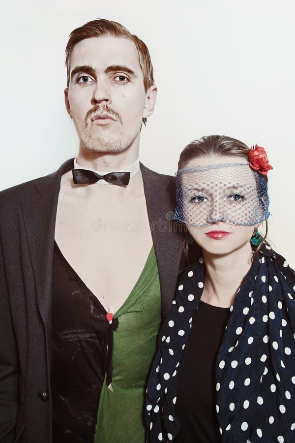 Acople atores do teatro em um close up retro do estilo foto de stock
