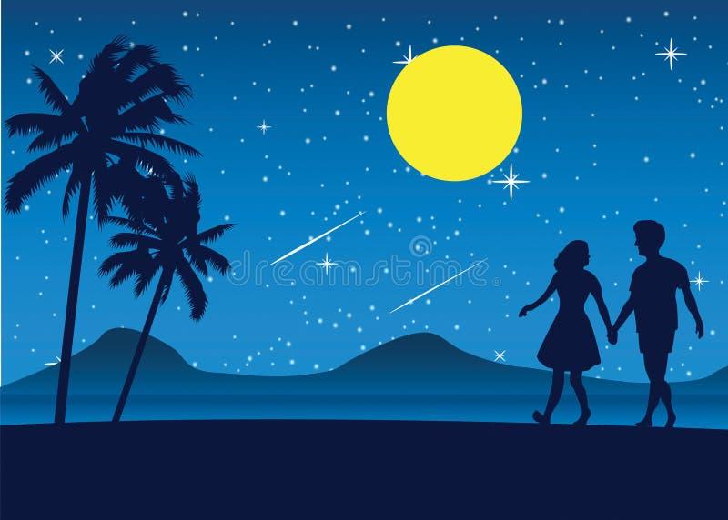 Acople a caminhada na praia na noite, tre próximo da palma do mar romântico da cena ilustração royalty free